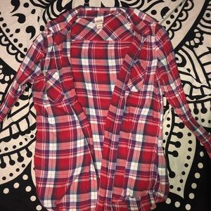 Red, White, and Blue Flannel Long Sleeve